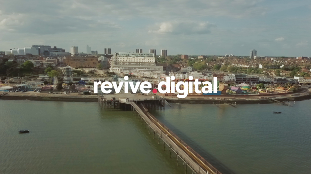 Southend-on-Sea Seafront with Revive Logo