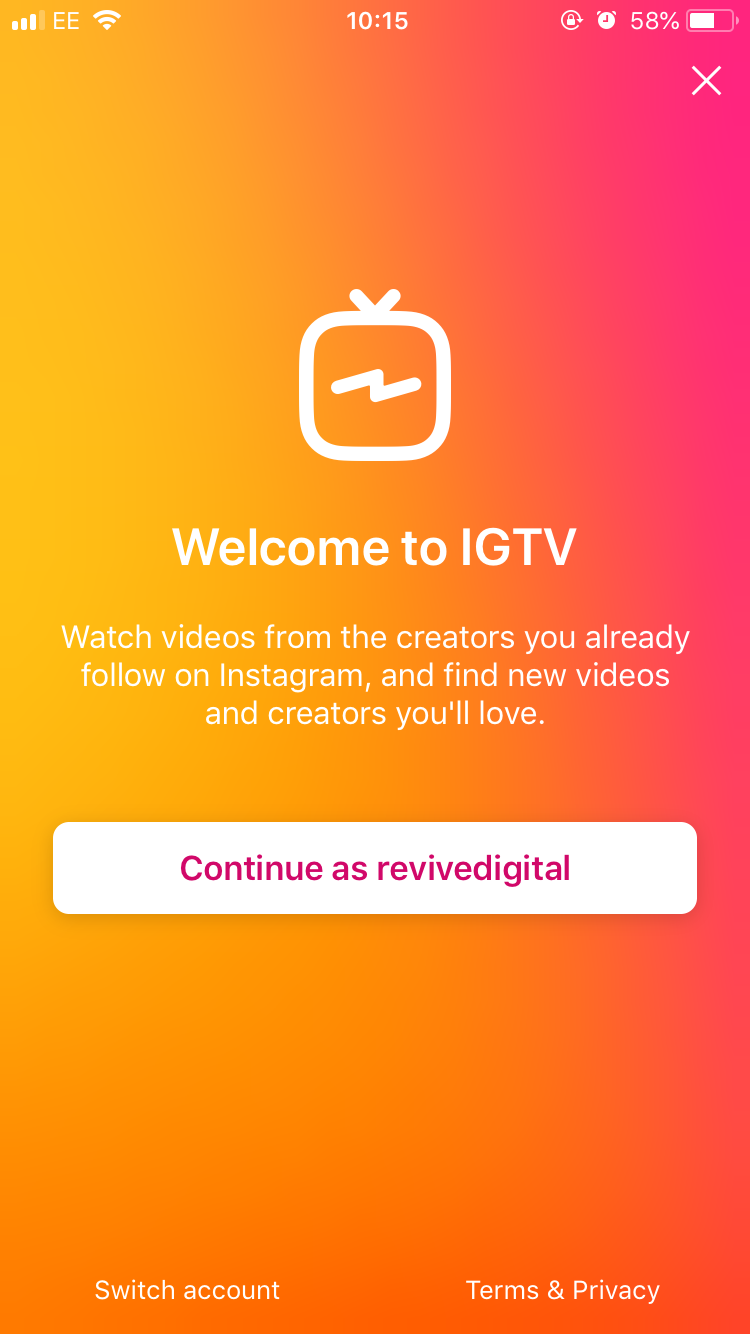 welcome screen of igtv