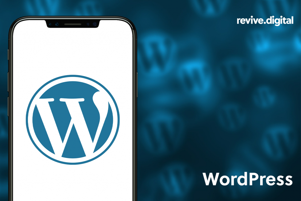 wordpress logo in a mobile phone