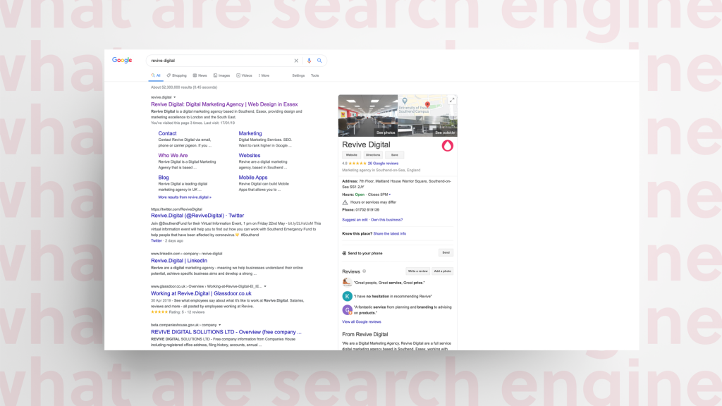 image of google search engine results