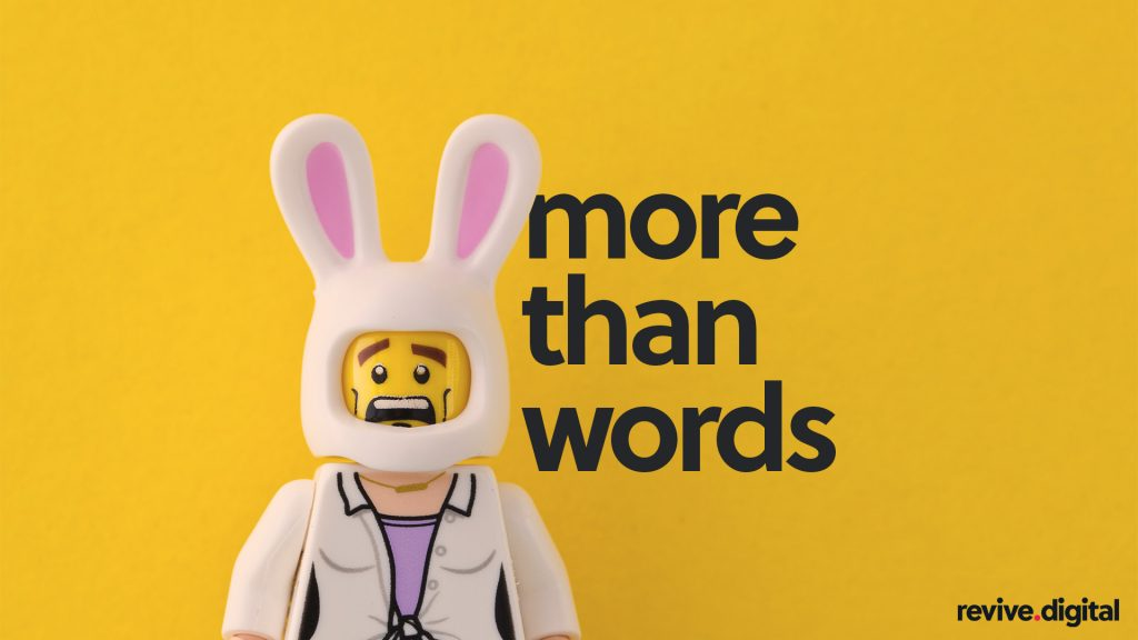 lego toy with a bunny helmet with a text more than words