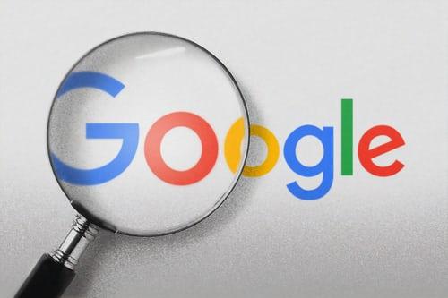 magnifying glass in Google logo