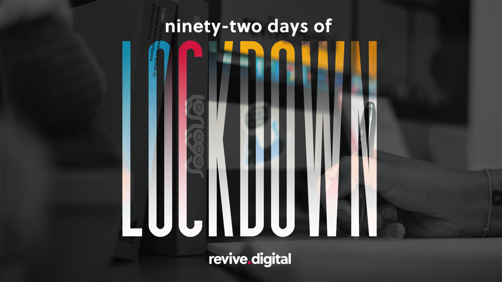 image with a text ninety two days of lockdown