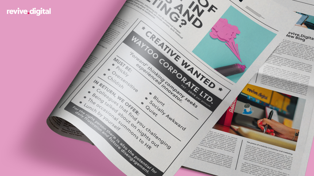 an wanted ad in a news paper about looking for a creative position