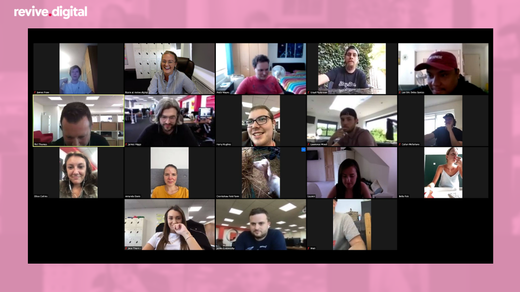 revive team zoom meeting in a pink background