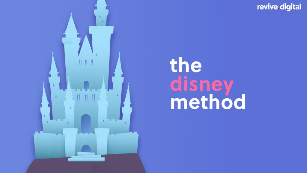 a castle cutout with a text the disney method