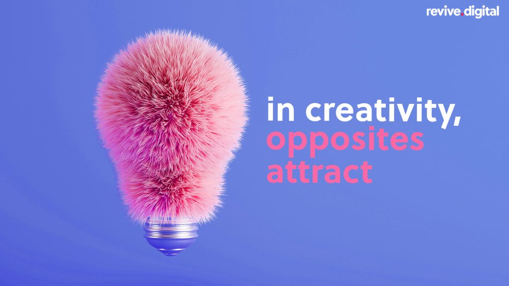 furry light bulb with text in creative opposites attract