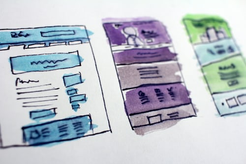 website design sketch in a piece of papaer