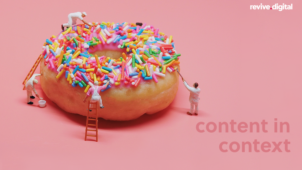 donut with a text Content in Context