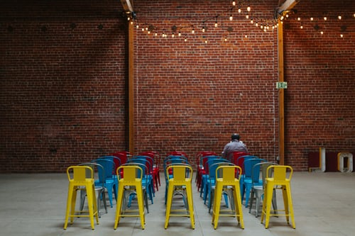 audience segmentation with coloured chairs